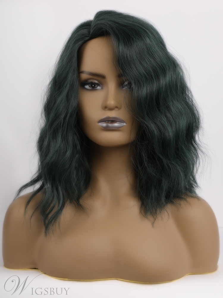 Medium Bob Curly Synthetic Wigs Dark Green Side Part For Women 16 Inches