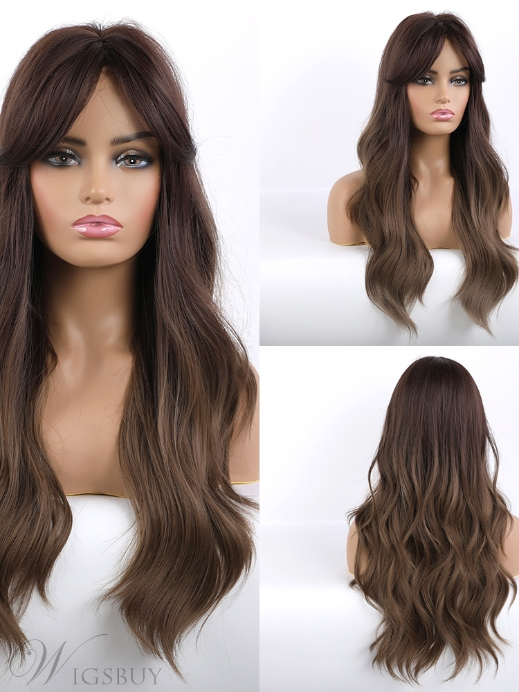 Women's Long Wavy Brown Synthetic Wigs With Bangs 26 Inches