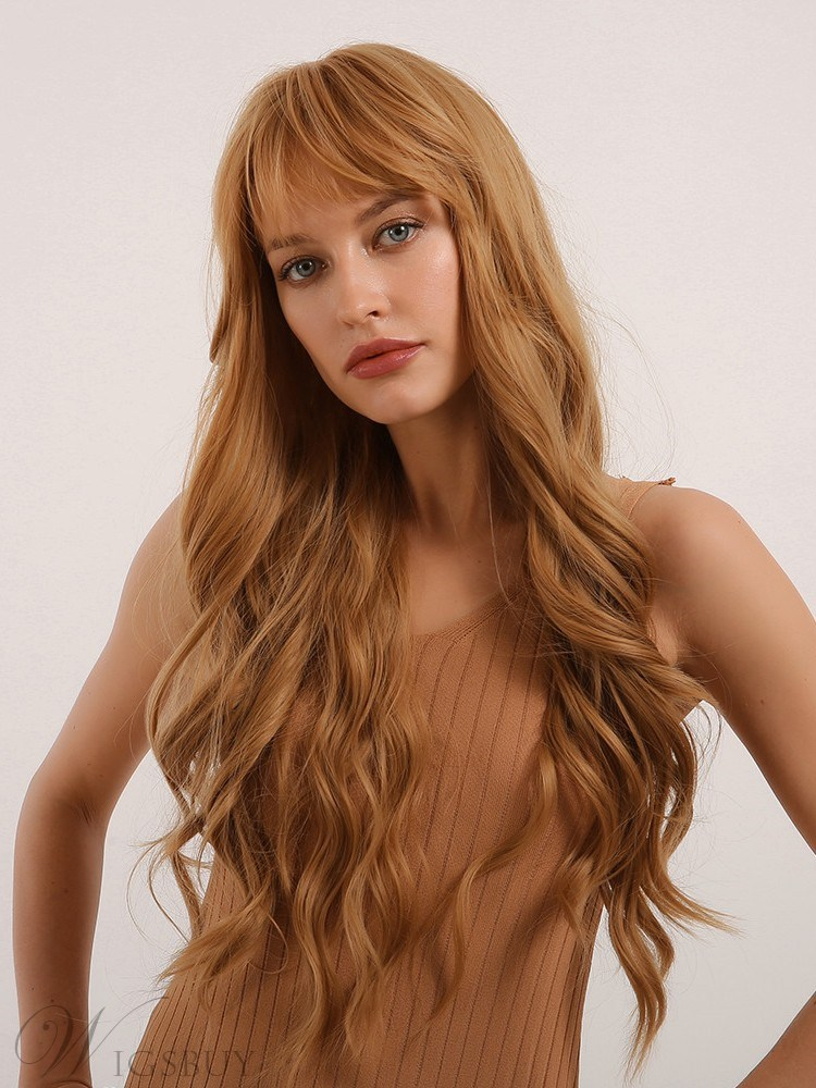 Long Body Wave Hairstyle Synthetic Hair Women Wig With Bangs 28 Inches