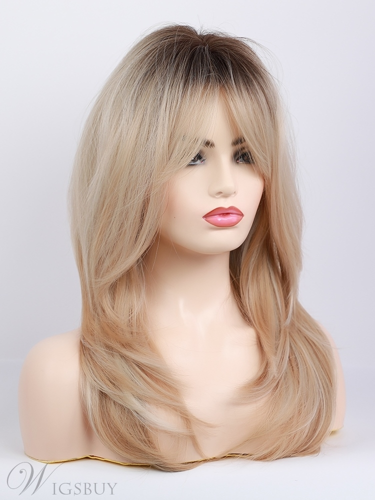 Long Blonde Synthetic Wigs With Layered Bangs Women Wig 24 Inches