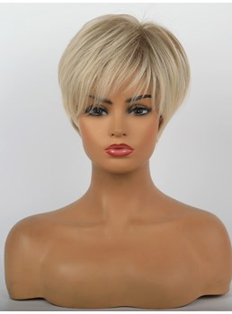Short Pixie Hairstyle Straight Synthetic Hair Women Wig 10 Inches