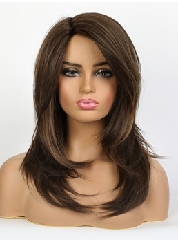 African American Women's Long Synthetic Hair With Side Layered Fringe Wig 20 Inches