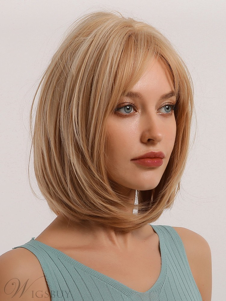 Medium Hairstyle Bob Type Synthetic Hair Straight Wig 14 Inches