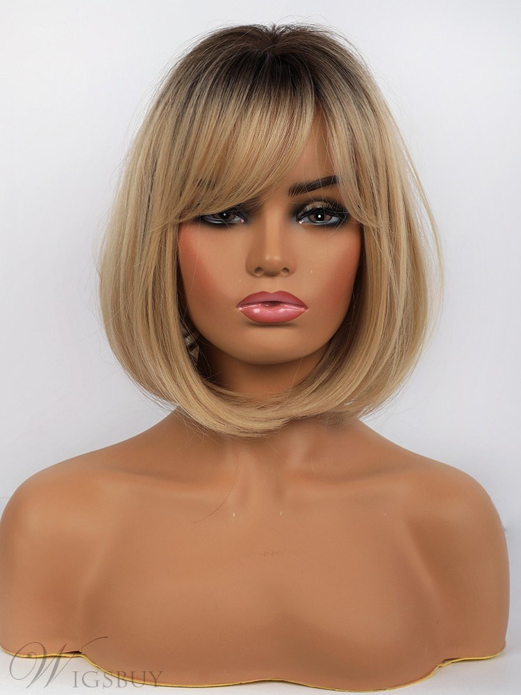Medium Bob Style Synthetic Hair Natural Straight Wig 14 Inches