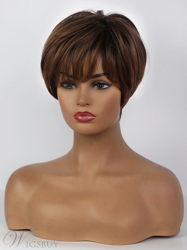Boy Cut Hairstyle Short Synthetic Hair Natural Straight Women Wig 10 Inches
