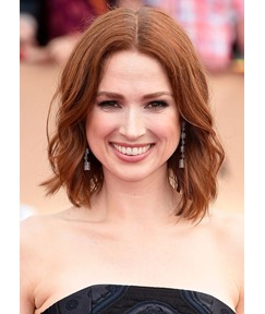 Ellie Kemper's Choppy Lob With Softly Wavy Ends Hairstyle Women's Synthetic Hair Capless Wigs 14Inch