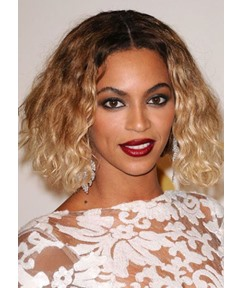 Beyoncé's Tightly Curled and Ombréd Lob Hairstyle Women's Curly Synthetic Hair Capless Wigs 14Inch