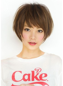 Short Shaggy Hairstyles Women's Layered Straight Synthetic Hair Capless Wigs With Bangs 10Inch