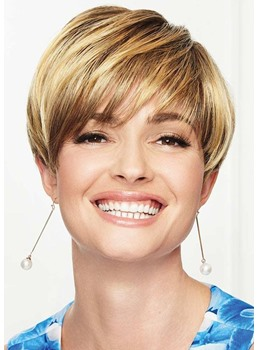 Natural Looking Women's Pixie Cut Short Hairstyle Straight Synthetic Hair Capless Wigs With Bangs 6Inch