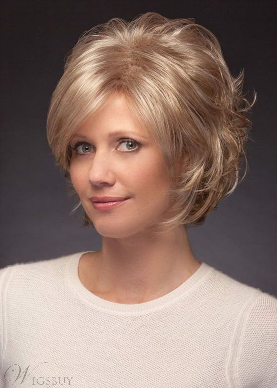 Natural Looking Women's Short Layered Hairstyles Wavy Human Hair Lace Front Cap Wigs 10Inch