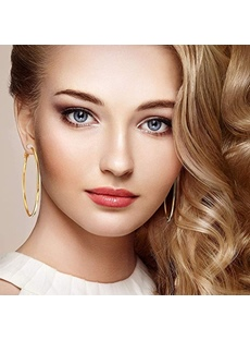 Adult Women/Ladies Sweet Style Alloy E-Plating Technic Hoop Earrings For Wedding/Party