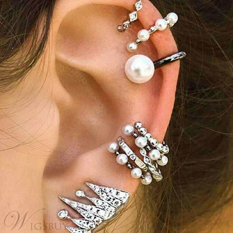 Sweet Style Women/Ladies Pearl Inlaid Technic Alloy Material Ear Cuffs