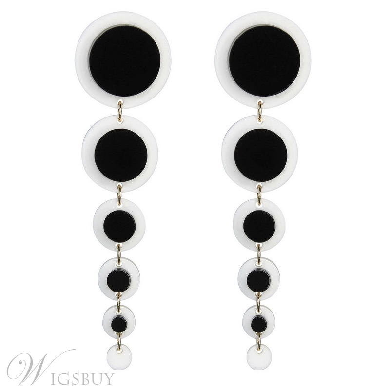 Wedding/Party Adult Women/Ladies European Style Color Block Pattern Acrylic E-Plating Drop Earring