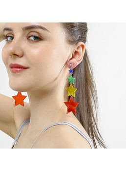 Sweet Style Women/Ladies Color Block Pattern Acrylic E-Plating Technic Drop Earrings
