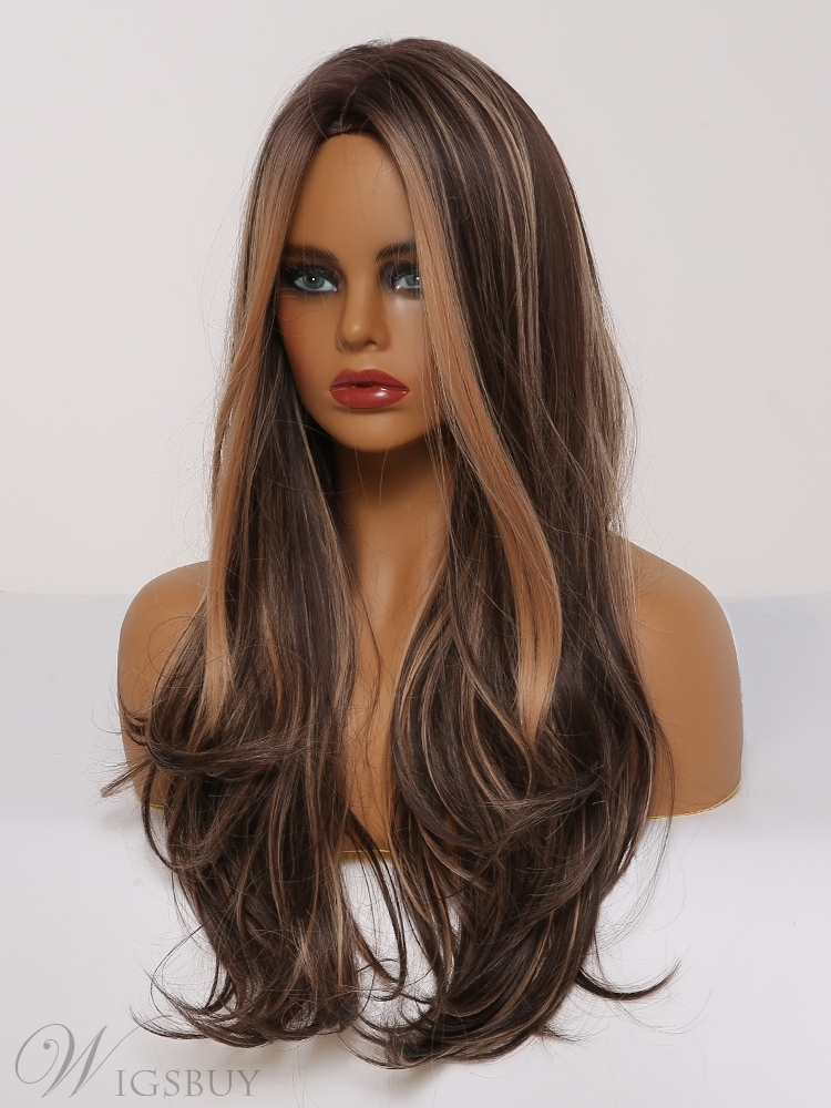 Long Wavy Hair Wig With Highlight Synthetic Hair Women Wig 26 Inches
