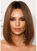 Emrata's Chocolate-Spiked Lob With a Center Part Hairstyle Women's Straight Human Hair Lace Front Wigs 14Inch