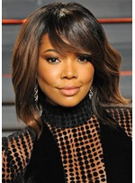 Gabrielle Union's Side-Swept Lob Hairstyle Women's Layered Wavy Synthetic Hair Capless Wigs 12Inch