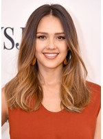 Jessica Alba's Ombre Lob Hairstyle Women's Middle Part Long Straight Synthetic Hair Lace Front Wigs 22Inch