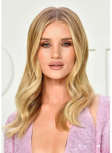 Women's Long Wavy Hairstyle Butter Blonde Color Human Hair Lace Front Wigs 22Inch