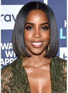 Kelly Rowland's Bumped-Under Lob Hairstyle Women's Straight Human Hair Lace Front Wigs 12Inch