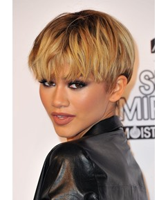 Women's Short Bob Hairstyles Fired Blonde Color Straight Synthetic Hair Capless Wigs With Bangs 8Inch