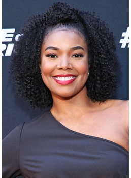 Gabrielle Union's Curly Topknot Hairstyle Women's Curl Human Hair Lace Front Wigs 18Inch