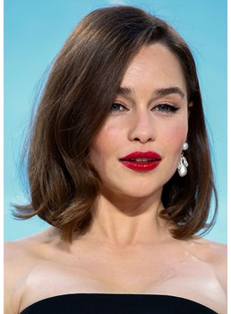 Emilia Clarke's Voluminous Retro Lob Hairstyle Natural Straight Synthetic Hair Capless Wigs 14Inch