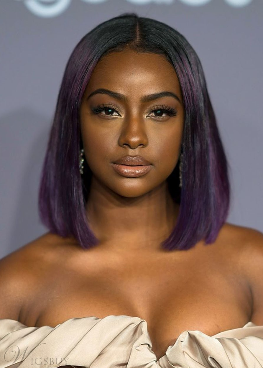 Justine Skye's Violet-Streaked Shoulder-Length Lob Hairstyle Women's Straight Synthetic Hair Capless Wigs 14Inch