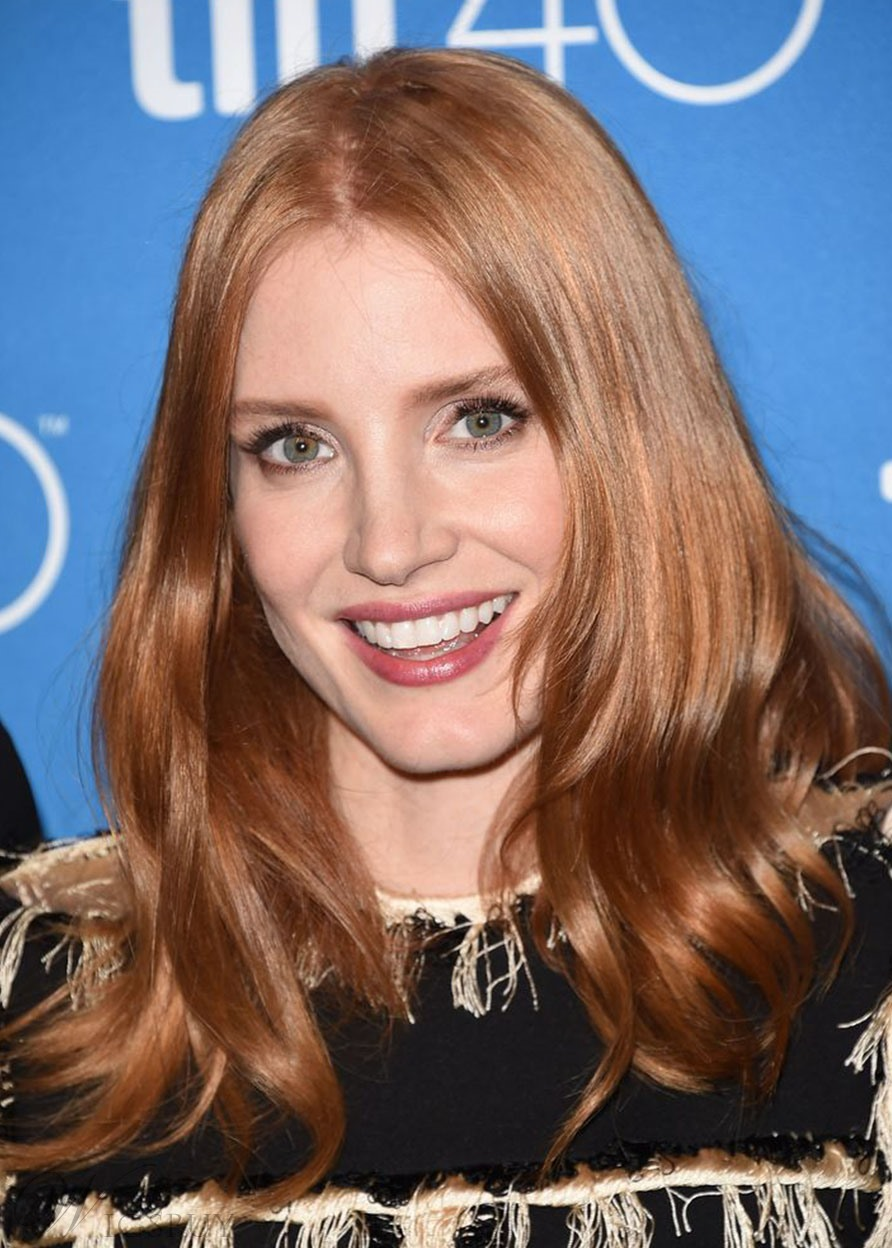 Jessica Chastain's Mega-Shiny Waves Hairstyle Women's Human Hair Lace Front Wigs 24Inch