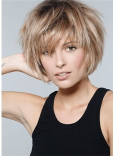 Women's Short Choppy Hairstyle Human Hair Wig 10 Inches