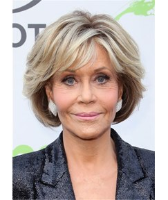 Jane Fonda Bob Hair Cut Synthetic Hair Lace Front Wigs 10 Inches