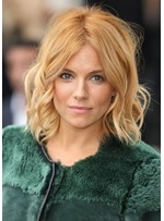 Sienna Miller's Blonde Lob Women's Medium Layered Hairstyle Wavy Synthetic Hair Capless Wigs 14Inch