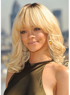 Medium Hairstyles Women's Blonde Color Wavy Human Hair Wigs With Bangs Lace Front Wig 18Inch