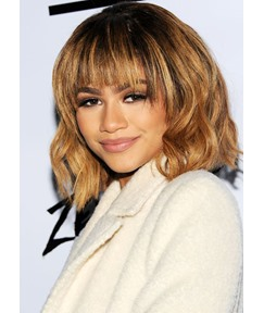 Zendaya's Honey Blonde Lob With Fringe Bangs Women's Medium Bob Hairstyles Wavy Synthetic Hair Capless Wigs 10Inch