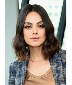 Mila Kunis's Brunette Lob Medium Hairstyle Women's Wavy Synthetic Hair Lace Front Wigs 14Inch