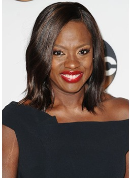 Viola Davis' Super-Shiny Lob Medium Hairstyle Women's Wavy Human Hair Lace Front Wigs 12Inch