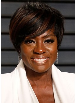 Viola Davis' Classic Short Pixie Cut Hairstyle Women's Straight Synthetic Hair Capless Wigs 8Inch