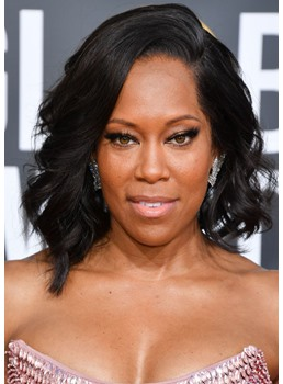 Regina King's Wavy Lob With a Side-Swoop Hairstyle Human Hair Lace Front Wigs 14Inch