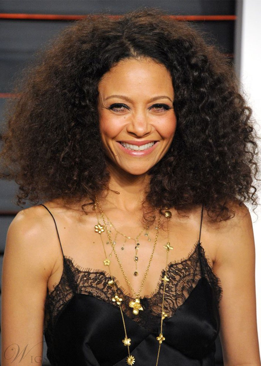 Thandie Newton's Voluminous Curls Hairstyle Women's Afro Curly Synthetic Hair Capless Wigs 18Inch