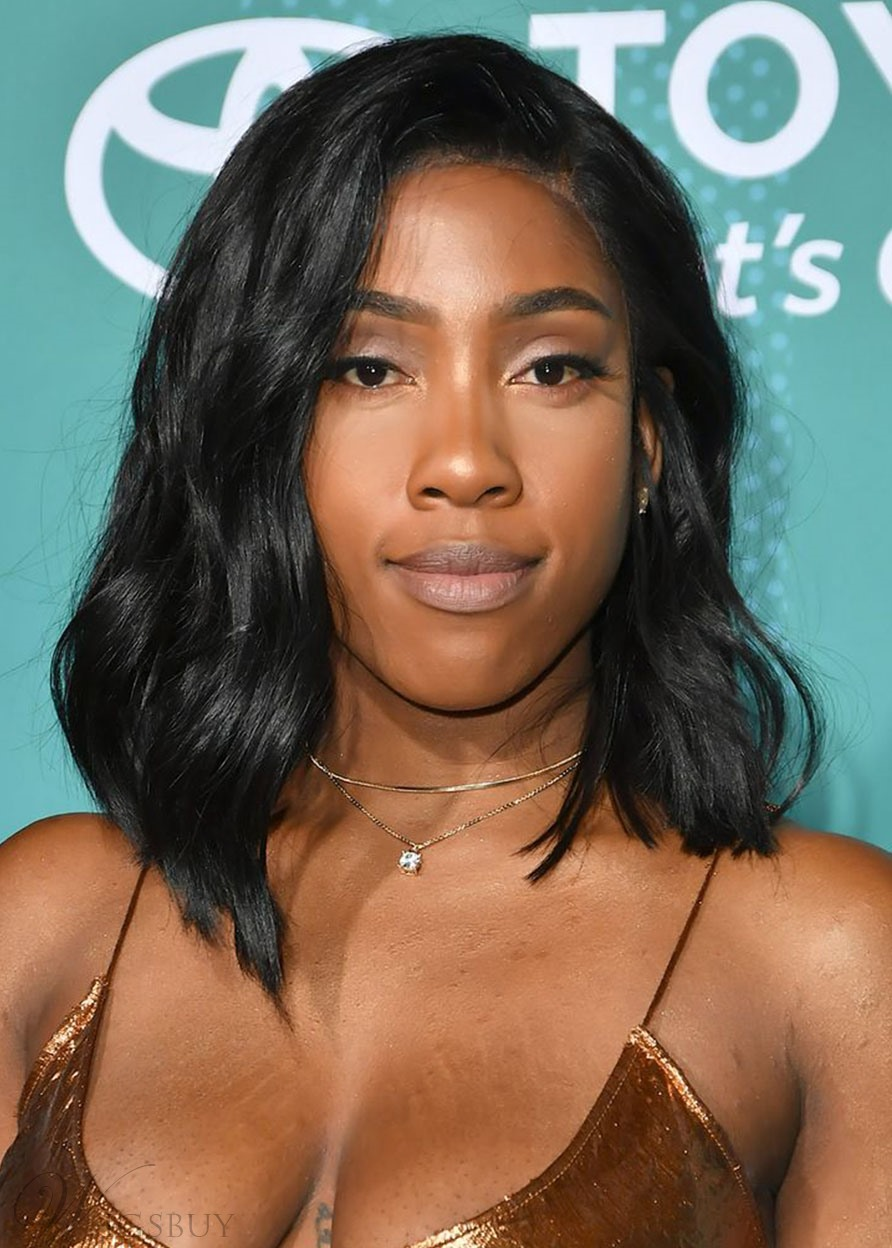 Sevyn Streeter's Shiny Graduated Lob Hairstyle Women's Wavy Human Hair Lace Front Wigs 14Inch