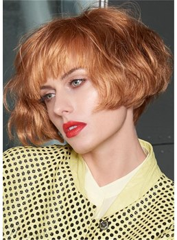 Short Fluffy Bob Hairstyle Cute Wavy Synthetic Hair Capless Women Wigs 10 Inches