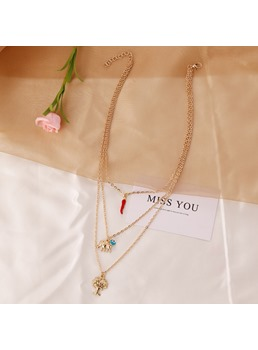 Vintage Style Women/Ladies Alloy E-Plating Technic Link Chain Pendant Necklace