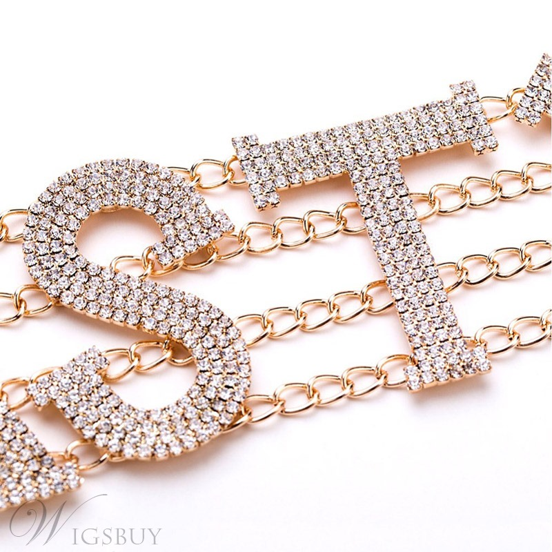 European StyleSexy Women/Ladies Letter Pattern Diamante Technic Link Chain Choker Necklace