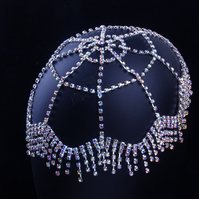 Ethnic Style Women/Ladies Tassel Technic Rhinestone Material Head Chain For Wedding