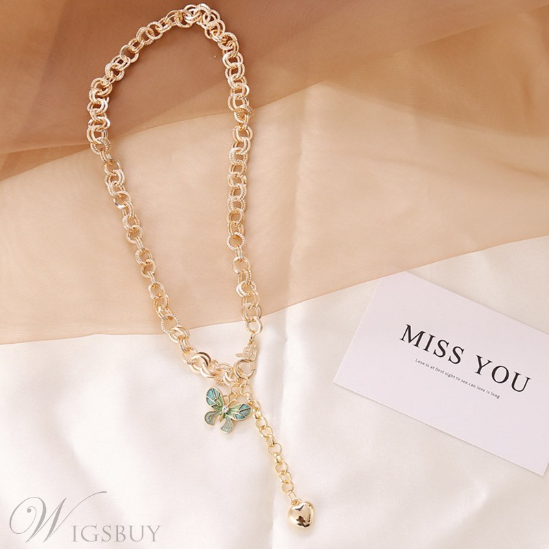 Lady/Women's Sweet Style Alloy Pendant Link Chain E-Plating Technic Choker Necklace