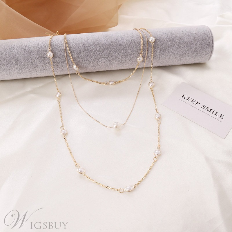 Adult Women/Ladies Sweet Style Link Chain Pearl Inlaid Technic Chain Necklace