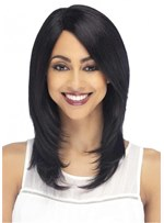 Long Layered Hairstyle Straight Human Hair Wig 18 Inches