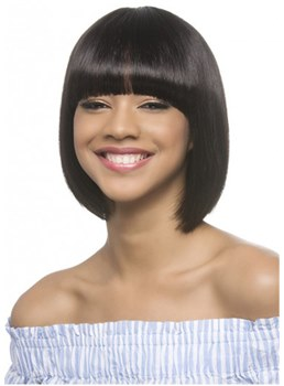 Medium Bob Human Hair Natural Straight Wig With Neat Bangs 10 Inches