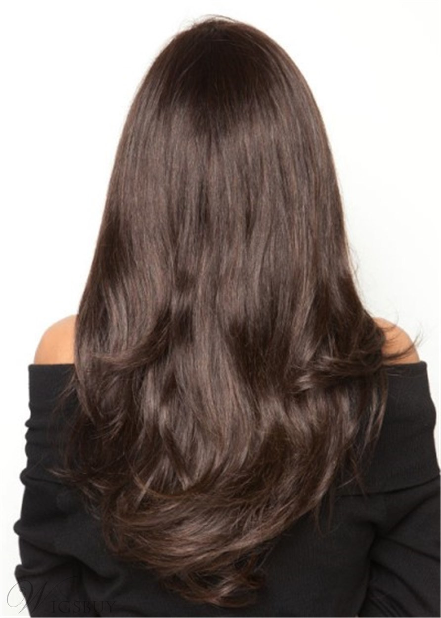 Long Straight Human Hair Natural Straight Lace Front Wig 24 Inches