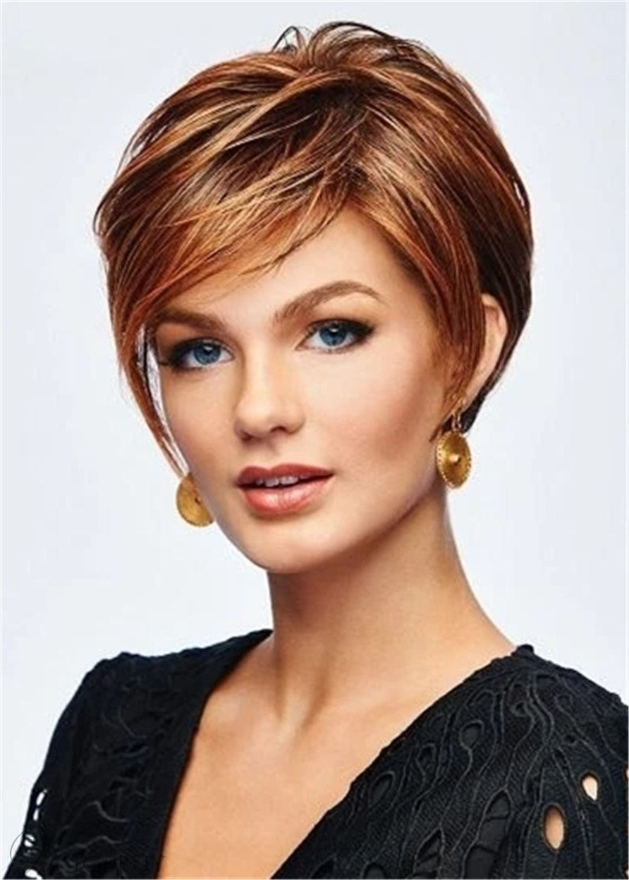 Boy Cut Hairstyle Layered Synthetic Hair Natural Straight Women Wig 10 Inches